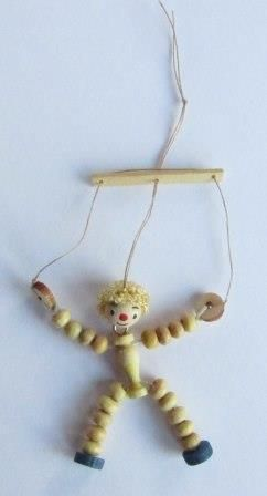 DIY Miniature Marionette - traditional toy for the dollhouse nursery in 1:12 scale