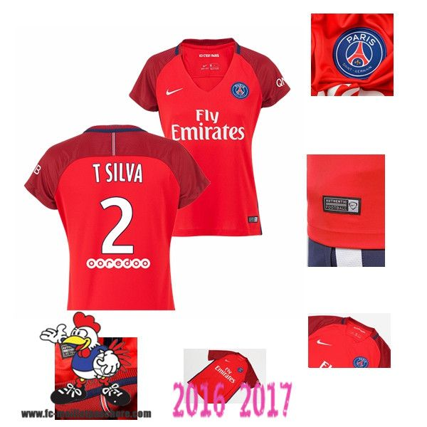 Vente Nouveau Maillot Football Paris Saint-Germain Rouge Femme (T SILVA 2)…