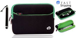 """Apple iPad Mini 7.9"""" Black / Green Neoprene Sleeve Case with Front Pocket for Accessories and Bonus Tablet Stylus Pen + EnvyDeal Velcro Cord Tie // Gift Box Included for Valentine's Day!! by Kroo. $14.99. None OEM Sleeve Case for iPad Mini with Front Pocket. High quality design protects tablet against everyday wear and tear. Includes one Tablet Stylus Pen. Scratch resistant washable neoprene. Slim and lightweight, protection without the bulk. Bundle Includes one Black..."""