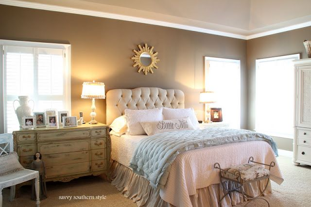 Love Kim's master bedroom at Savvy Southern Style blog