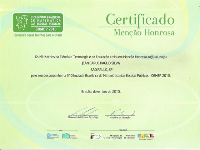 Certificado OBMEP