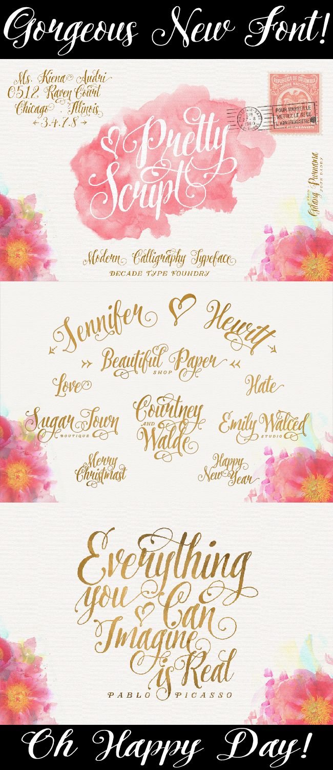 Gorgeous new Calligraphy Font to make your own DIY invitations,menus, tags and more!