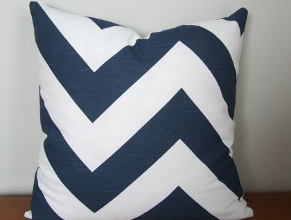 Beautiful Large Chevron Cushion Cover, Classic Navy and White