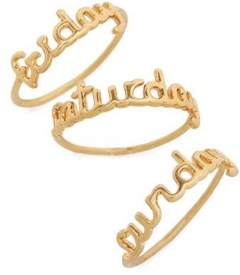 Madewell Women's Friday Saturday Sunday Stacking Rings