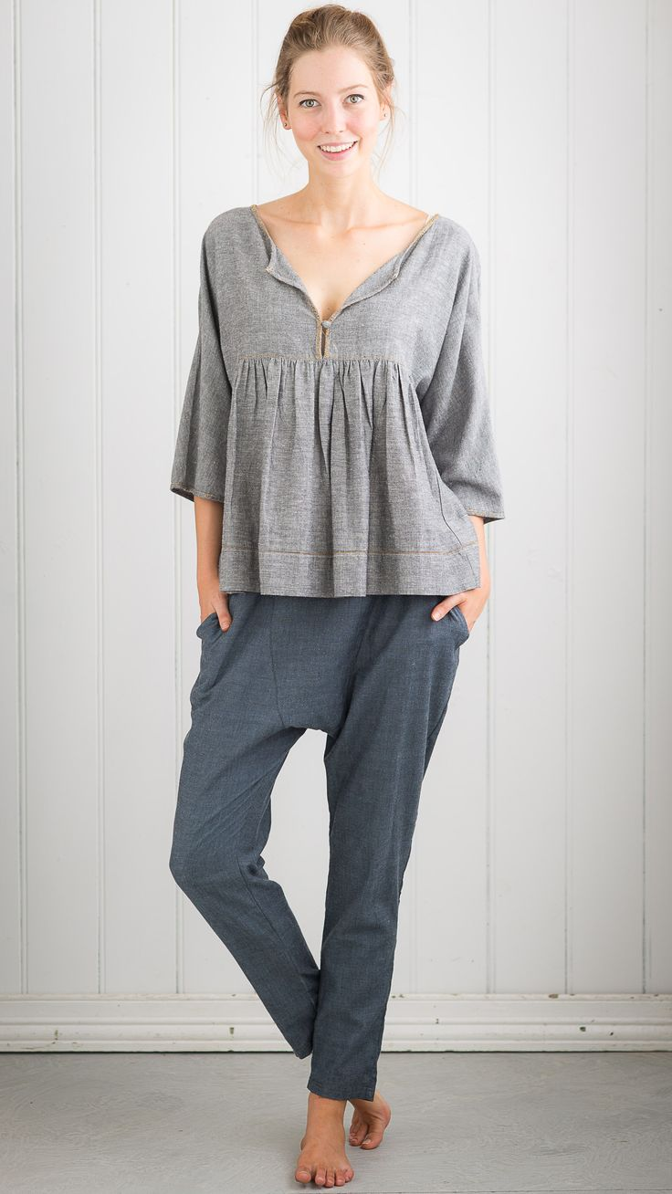 Tyra top in Ash with Krista pant in Blue