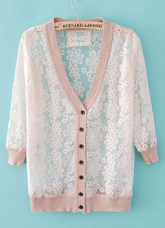 Nude Long Sleeve Embroidery Sheer Sweater - cute!