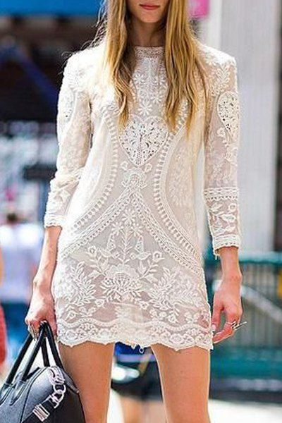 Lace Long Sleeve See-Through Cover-Up