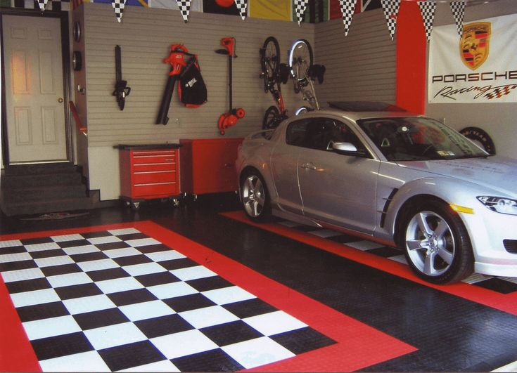 Garage Décor Ideas With Black White Floor Paint Color Garage In - Car show floor covering