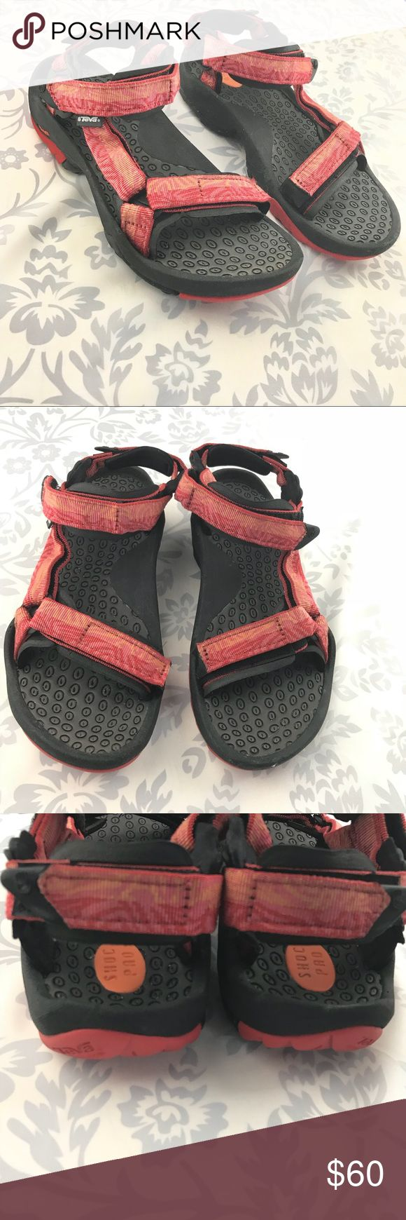 Teva Hurricane sports water hike sandals orange Teva Hurricane sport Sandals with hook and loop adjustable straps.  Gently preloved.   A Teva Shoes Sandals