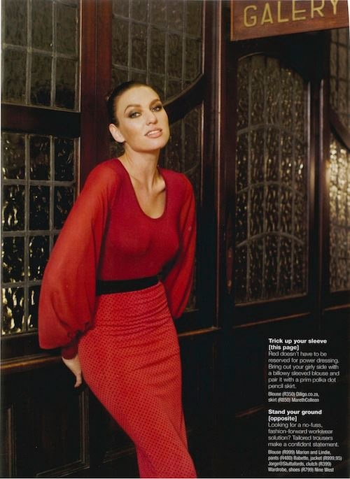 Media coverage from the fabulous Fairlady Magazine. They feature the burgundy chiffon sleeve top in their July editorial.