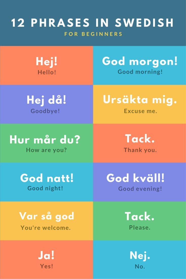 12 Starter Phrases In Swedish For Beginners Learn Swedish Swedish Language Sweden Language
