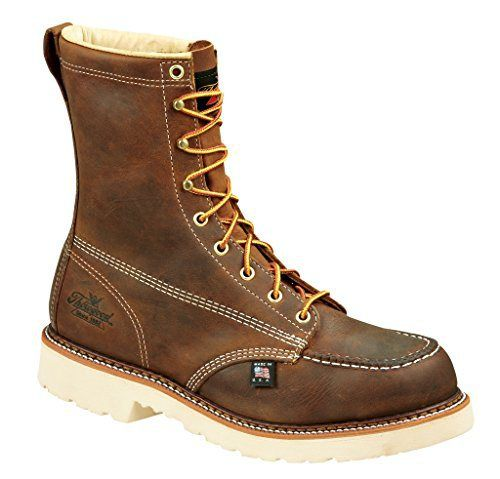 Thorogood Men's American Heritage 8 Inch Safety Toe Lace-up Boot, Brown.