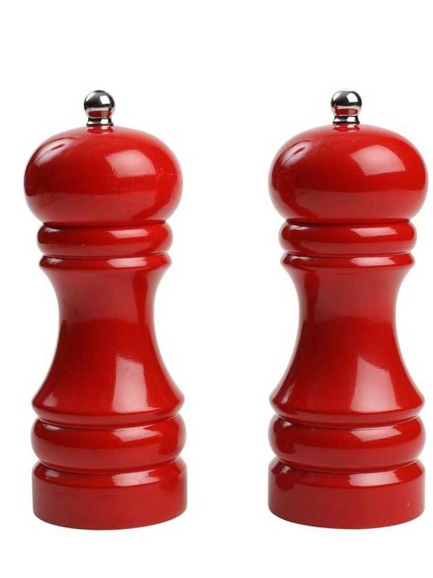 Classic red pepper mills. Very country kitchen. I love anything red for my kitchen :)