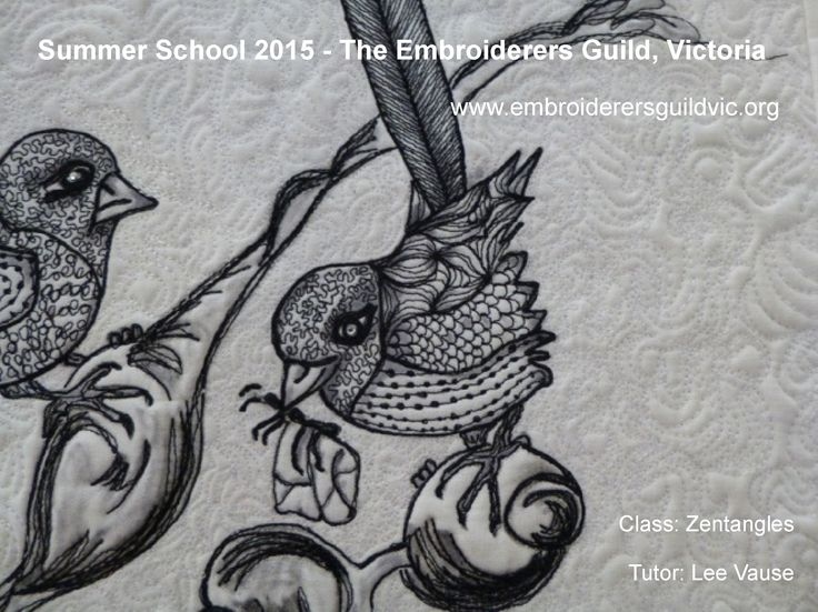 LV4 ZENTANGLES Skill level: Basic free motion embroidery or free motion quilting skills 7-8 January 2015, 10am - 3pm, Tutor Lee Vause See www.embroiderersguildvic.org or Facebook/StitchSnippets for more information. #zentangles #zendoodles #embroidery