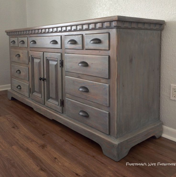 Rust-Oleum Weathered Gray stain for the first coat. Last color coat was a  white glaze (a glazing medium + antique white latex paint). Then clear  coats. - Best 25+ Distressed Furniture Ideas On Pinterest Distressing