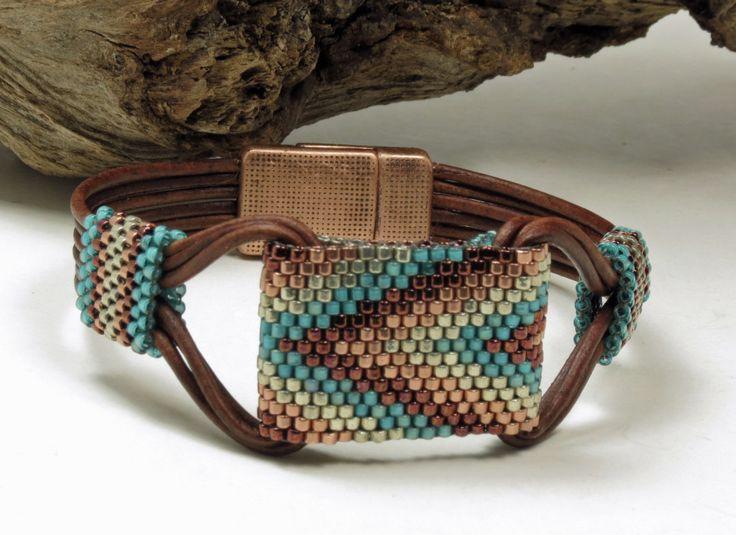 SINGLE WRAP LEATHER Bracelet-Miyuki Delicas-Peyote Stitch…