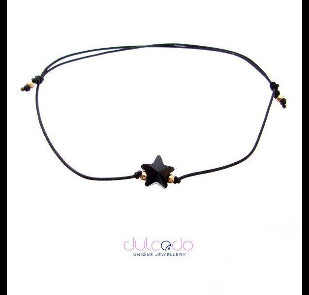Schwarz Armband mit Swarovski Element - Stern  Größe verstellbar - großer Einstellbereich, können Sie es für Ihre Kinder gut zu tragen.  Armbänder sind aus strapazierfähigem, Nylonschnur ,...