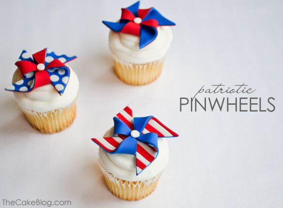 The TomKat Studio: Patriotic Pinwheels :: Cupcake Monday: Food Ideas, Pinwheels Cupcakes, Cupcakes Toppers, 4Th Of July, Parties Ideas, July 4Th, Patriots Pinwheels, Fondant Pinwheels, Fondant Cupcakes