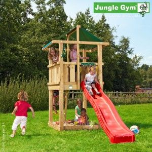 Jungle Hut - A cosy treehouse, following a theme of outdoor adventure, with a sandbox and slide.