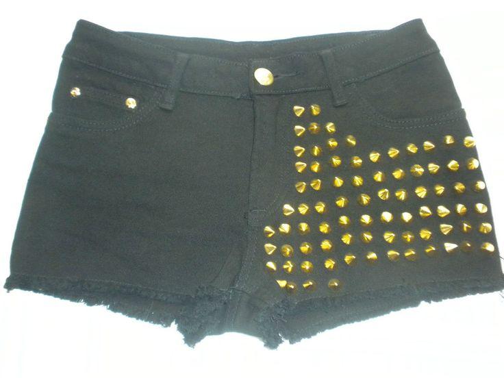 Studded One Side Black Denim Shorts Gold Spikes Hot Pants Size  27 #Unbranded #MiniShortShorts
