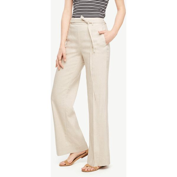 Ann Taylor The Tall Portofino Pant ($119) ❤ liked on Polyvore featuring pants, true ecru, tall pants, stretch pants, pink pants, pleated front pants and ann taylor