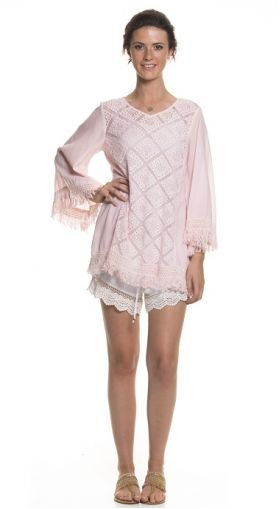 Holiday Clothing Poni Cotton Top In Blush