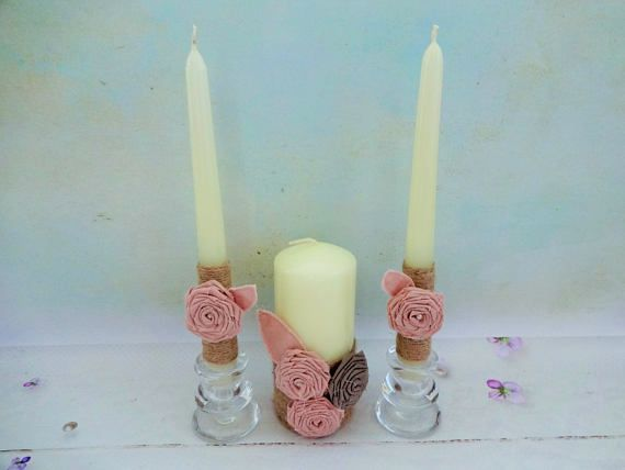 Rustic Unity Candles Dusky Pink Candles Unity Candle Set