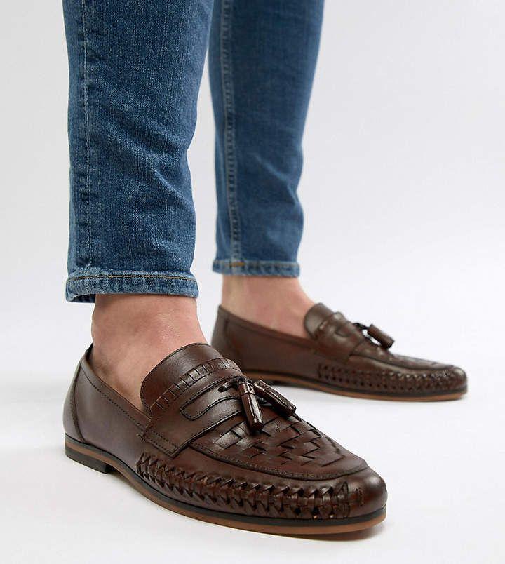 Asos DESIGN Wide Fit Loafers In Woven