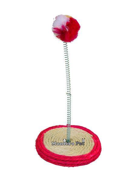 Rascador pequeño para gato con una base redonda hecha de cuerda perfecta como rascador para su gato. Incluye un accesorio-juguete bola que c...