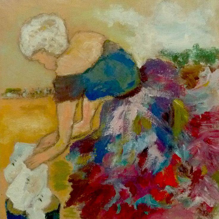 """""""Marie, la Lavandière. 1898"""" peinture acrylique réalisée sur carton entoilé. Original de l'artiste Soffya. 25cm x 25cm.  Pièce unique : création originale de Soffya. © Tous droits réservés (article L 112-1 du code de la propriété intellectuelle)."""