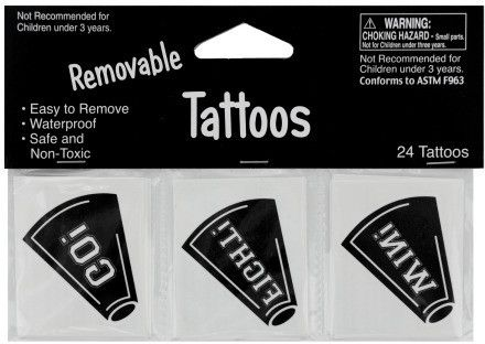 Removable Black Cheer Tattoos Case Pack 24