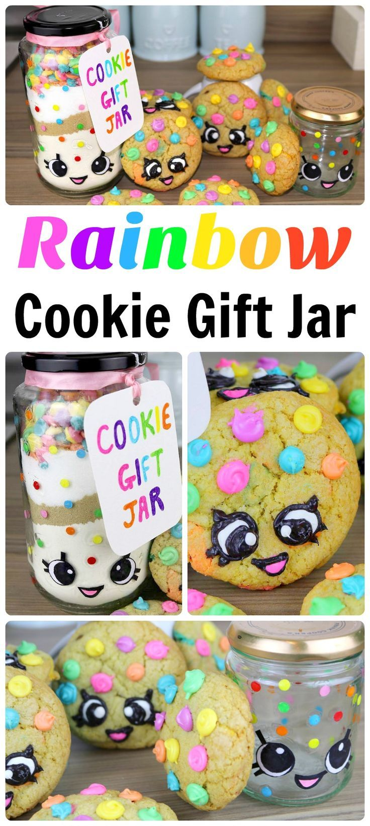 Rainbow Cookie Gift Jar DIY - this is Kawaii and Shopkins Kooky inspired - make an adorable Kooky Gift Jar - and then fill it with Rainbow Cookie ingredients. The jar can also be used to store your Shopkins or other bits and pieces. A great mason jar DIY. Adorable.