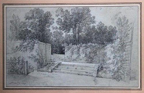"""Adjugé 56 000 euros par Couton Veyrac Jamault le 25 mars 2014 -  Jean-Baptiste OUDRY (1686-1755) Escalier entouré de treillages dans le parc d'Arcueil Pierre noire avec des rehauts de craie blanche sur papier bleu, signé et daté """" JB.Oudry 1744 """""""