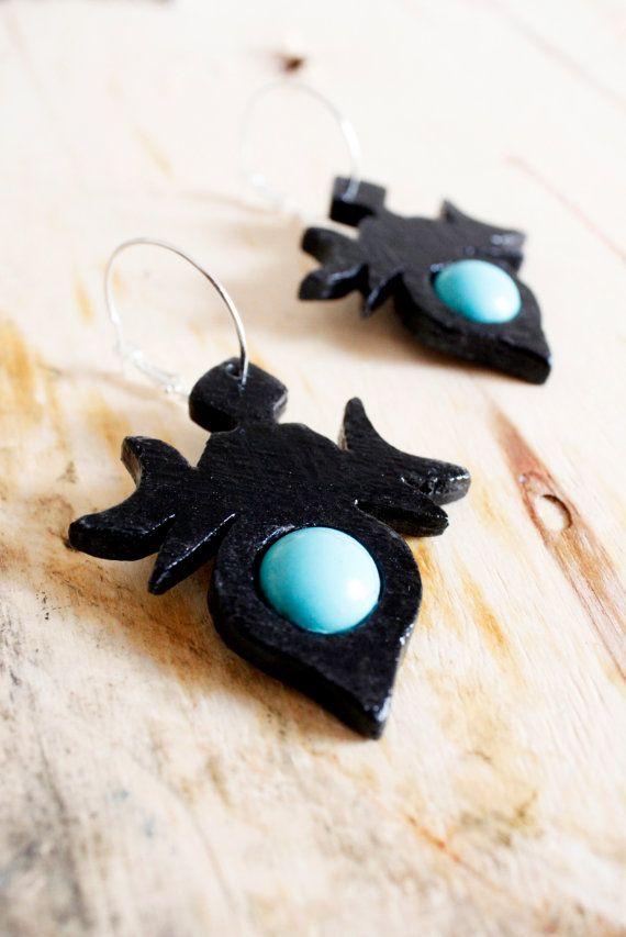 Turquoise earrings black moon earrings tribal by TACEHandmade