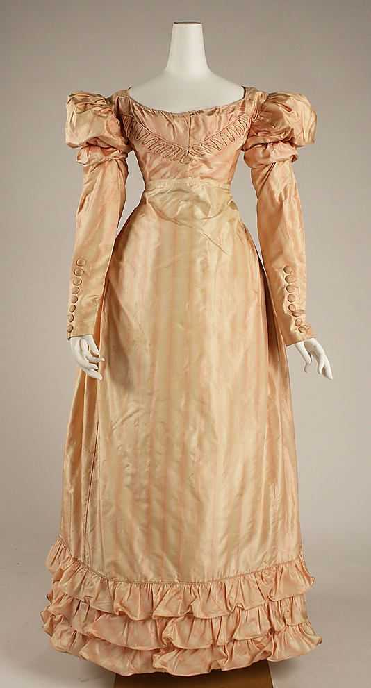 Dress, Visiting  Date: ca. 1822 Culture: British Medium: silk Dimensions: Length at CB (a): 9 1/4 in. (23.5 cm) Length at CB (b): 43 1/2 in. (110.5 cm) Credit Line: Purchase, Irene Lewisohn Bequest, 1980 Accession Number: 1980.145.1a, b http://www.metmuseum.org/