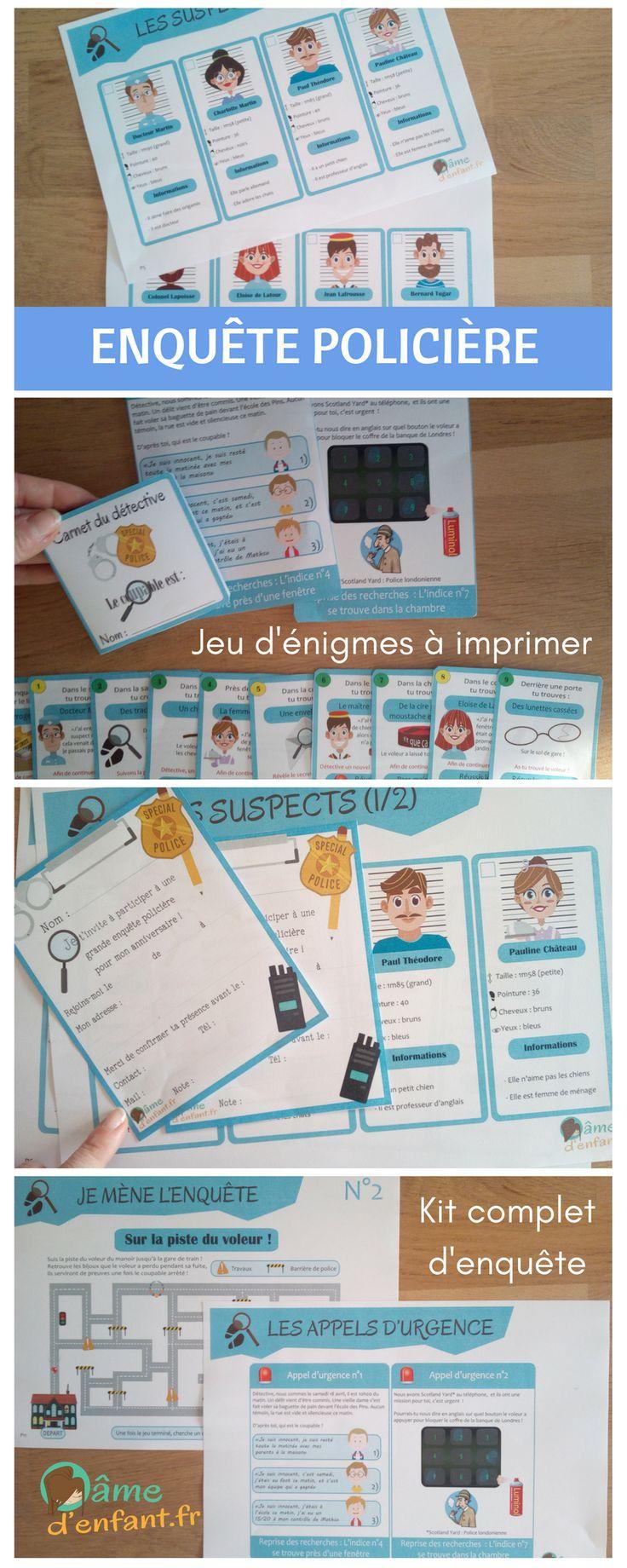 Kit complet d'enquête policière à imprimer pour enfant à partir de 7 ans - Anniversaire / Goûter / Loisirs en famille / Activités enfant
