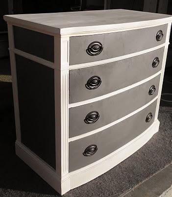 Painted Dresser ....Annie Sloan Chalk Paint-Old White  Behr Ultra-Dark Granite