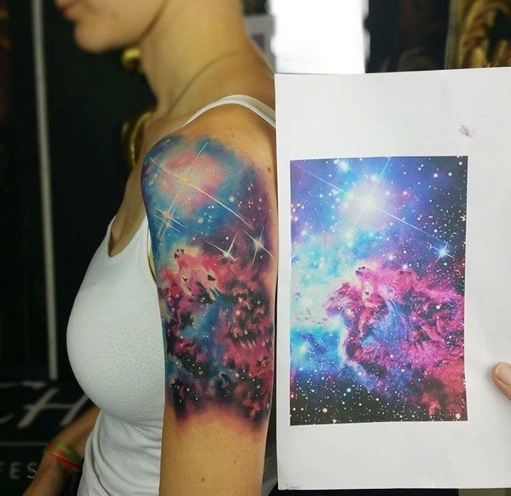 My space/galaxy half sleeve done by Lui at Bunte Tinte Tattoo in Dresden, Germany - Imgur