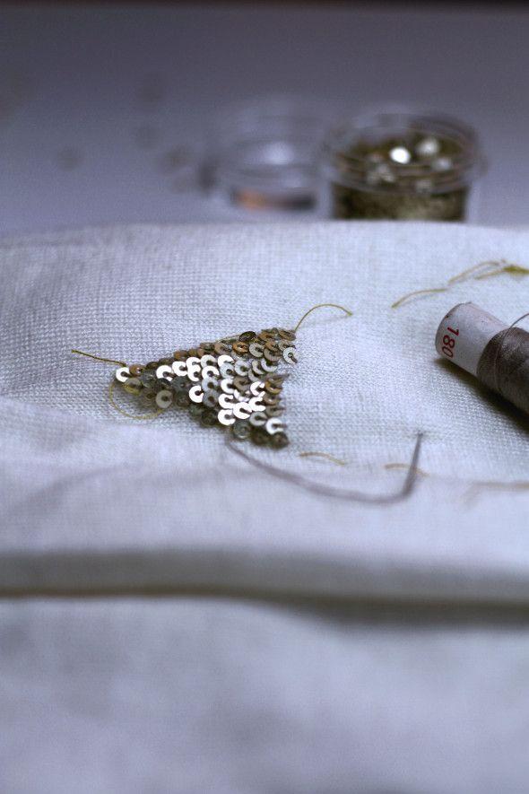 DIY coudre des paillettes sur un pull