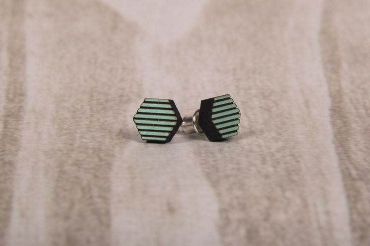Wooden Laser Cut Stripy Green Hexagon Earrings made in South Africa