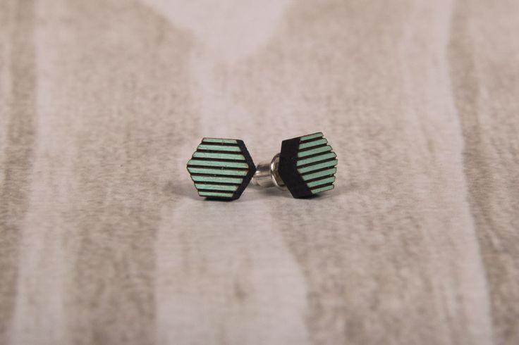 Wooden Laser Cut Stripy Green Hexagon Earrings made in South Africa