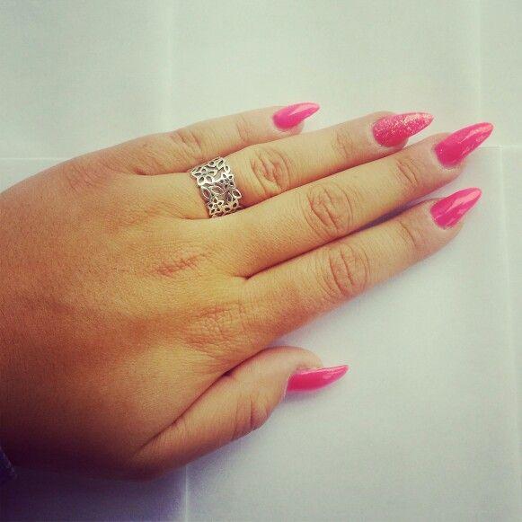 Long neon pink.