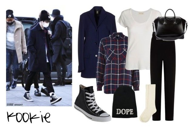 """Jungkook Outfit #1"" by sehunnie-baekhyunnie on Polyvore featuring moda, Dondup, River Island, American Vintage, Balenciaga, Converse, Monsoon y Givenchy"