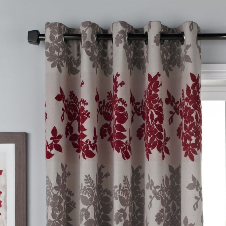 Colours Collection by B&Q Charlotte Eyelet Curtains Red/Natural (W)168 x (L) 229cm