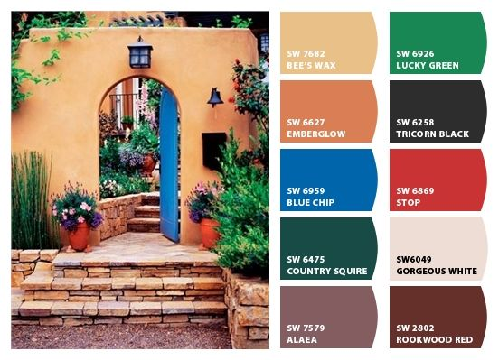 Warm southwestern color combination. These colors would warm up any room.