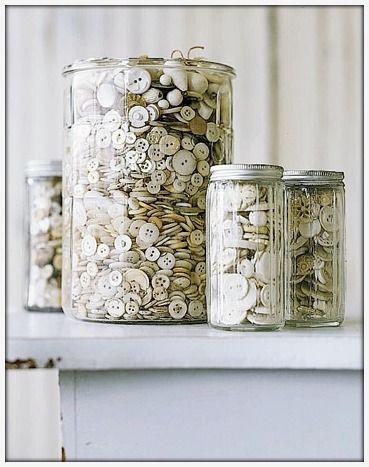 Button Jar: Vintage Jars, Vintage Buttons, White Buttons, Buttons Buttons, Buttons Jars, Old Jars, Glasses Jars, Sewing Rooms, Mason Jars