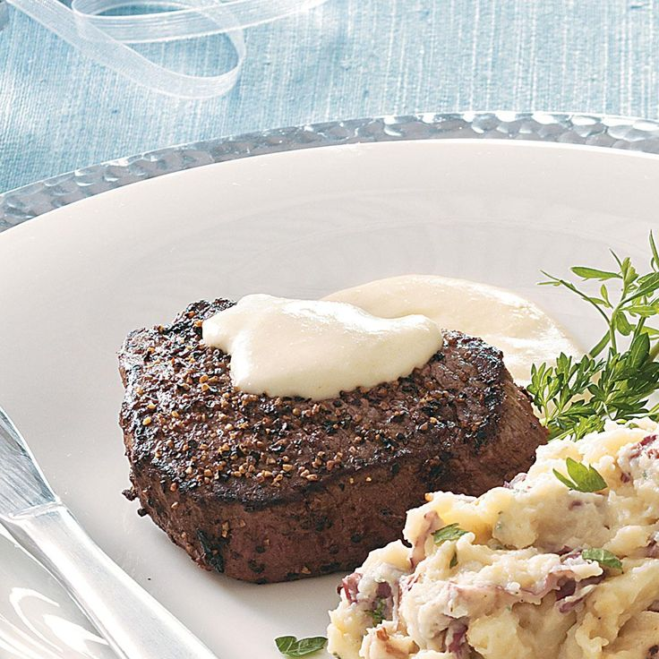 Peppered Filets with Horseradish Cream Sauce Recipe -This beef tenderloin recipe is a family favorite that's quick and always satisfying. The creamy sauce has the perfect blend of horseradish and mustard. —Marie Rizzio, Interlochen, Michigan