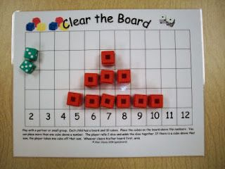 """Clear the Board"" addition game, 2 players. I would use two different colored cubes (5 each player). Kids place their cubes on the sums they predict will come up the most and when dice is rolled if their sum is the answer they get to remove a cube above that #...first one to clear all their cubes wins. (math center)"