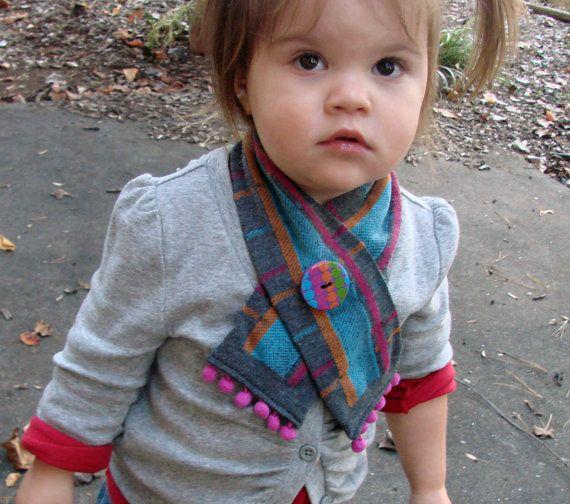 Toddler Scarf/Muffler upcycled from knee socks