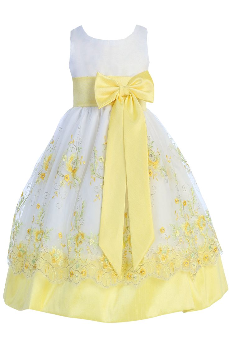 White & Yellow Floral Embroidery Organza Overlay Dress with Taffeta Trim (Girls 6 months - Size 7)